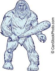 Bigfoot Holding Club Standing Drawing