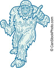 bigfoot-pointing-MLINE - Mono line illustration of the Yeti...