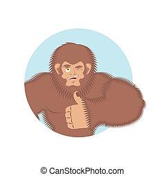 Bigfoot thumbs up. Yeti winks emoji. Abominable snowman cheerful. Vector illustration