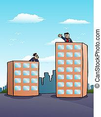 bigger buliding compare - illustration of a bigger buliding...