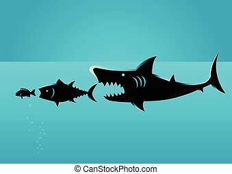 Bigger fish prey on smaller fish - Illustration of bigger...