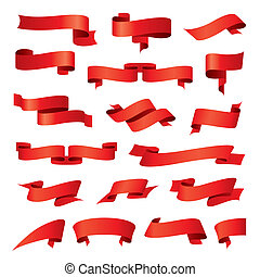 biggest collection of vector red ribbons