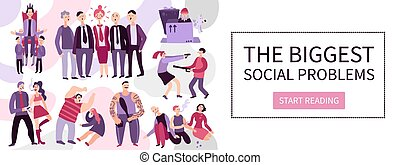 Biggest Social Problems Flat Illustration