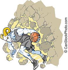 Bighorn Sheep Ram Basketball Mascot - Cartoon vector clip...