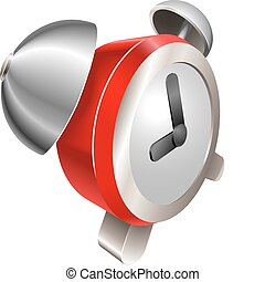 Bight red shiny alarm clock