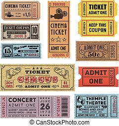 biglietti, 1, grunge, collezione
