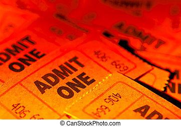 biglietti, ammettere