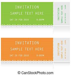 biglietti, due, illustrazione