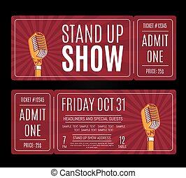 biglietti, microfono, mostra, su, vettore, stare in piedi, ...