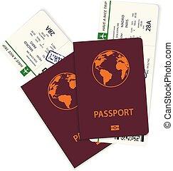 biglietti, passeggero, verde, linea aerea, carta imbarco