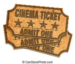 biglietti, retro, cinema