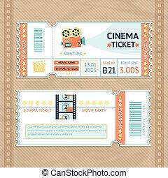 biglietti, set, cinema