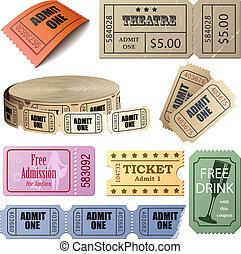 biglietti, set, isolato, fondo., vettore, bianco, buoni