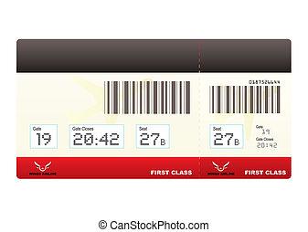 biglietti, swipe, classe, aereo, primo