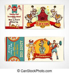 biglietti, vendemmia, circo, set