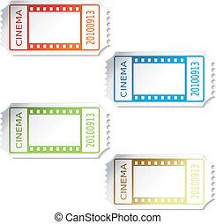 biglietti, vettore, cinema