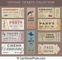 biglietti, vettore, grunge, cinema