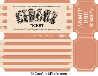 biglietto, circo, retro