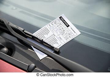 biglietto parcheggia, su, automobile