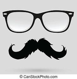 bigode, barba, e, penteado, hipster