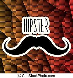 bigode, estilo, hipster, cartaz