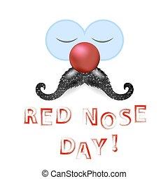 bigode, nariz, vermelho, palhaço, dia