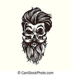 bigode, penteado, barba, cranio, vetorial, illustration.