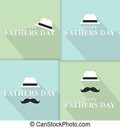 bigode, tie., vetorial, dia, father?s, feliz, chapéu, ilustração, jogo