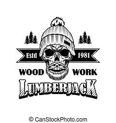 bigode, vetorial, woodcutter, ilustração