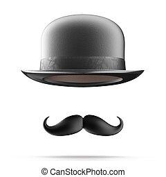 Bigodes,  bowler, chapéu