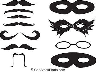 bigodes, e, máscaras