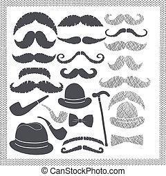 bigodes, jogo, vindima, chapéus