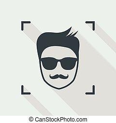 bigodes, quadro, óculos de sol, rosto