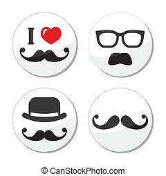 bigote, amor, bigote, /, iconos