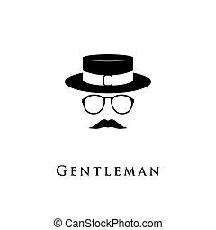 bigote, caballero, glasses., creativo, logotipo, sombrero