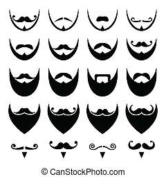 bigote, o, bigote, barba