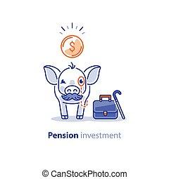 bigote, superannuation, cerdo, ahorros, pensión, fondo, sombrero, inversión, elegante, plan
