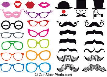 bigote, y, lentes, vector, conjunto