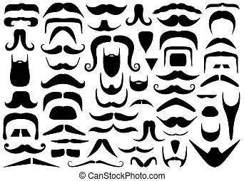 bigotes, diferente, conjunto