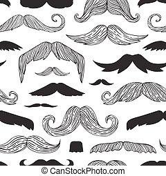 bigotes, patrón, seamless