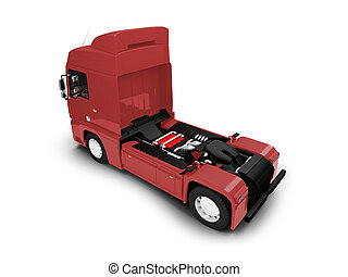 Bigtruck isolated red back view