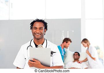 bij het wonen, patiënt, groep, artsen