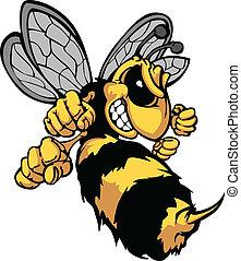 bij, hornet, spotprent, vector, beeld