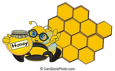 bij, houden, een, honing