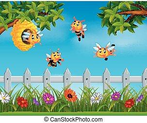 Bijenkorf bij bijenkorf hout illustratie bij for Vliegen in de tuin