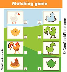 bijbehorend, onderwijs, geitjes, silhouette, boerderij, game., vogels, activiteit, kinderen