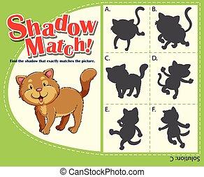 bijbehorend, spel, mal, met, kat