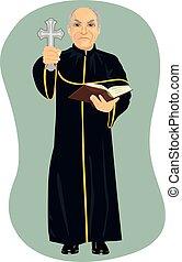 bijbel, heilig, boos, kruis, priester, vasthouden, senior