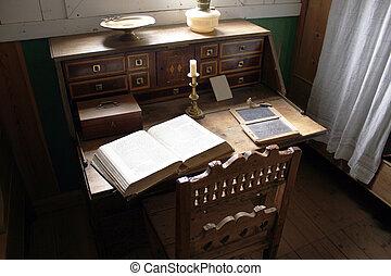 bijbel, oud, zeer, ouderwetse , bureau, open