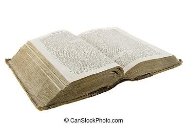bijbel, oud, zeer, ouderwetse , op, vrijstaand, achtergrond, witte , lezende , open
